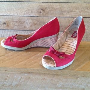 0d9a4a6f6a6 Keds Shoes - Keds Wedges Red Peep Toe 6 Spright Polka Dot Heel